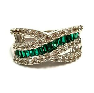 925 sterling silver green cubic zirconia twist cocktail ring size N
