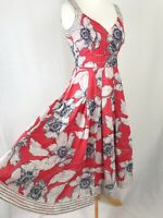 Phase Eight Red & White Floral A-line V-neck Dress UK Size 10 Lined