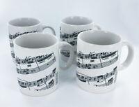 Black and White Sheet Music Notes Coffee Mug, 10 oz, Set of 4 - NEW Musical Mugs