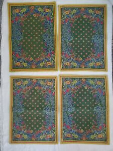 Williams Sonoma Placemats Set 4 French Provence Green Yellow Floral