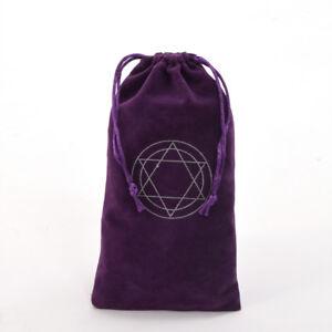 Hexagram Purple Velvet Tarot Pouch Bag Star of David Tarot Cards Drawstring Bag