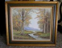 """Orig Oil Painting California Trees 33"""" x 28"""" Mid Century era M. McClellan listed"""