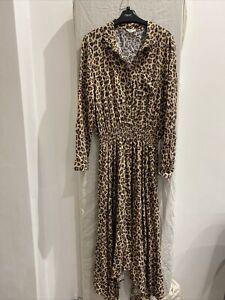 HUSH Brown Leopard Print Long Sleeve Dress Size UK 14