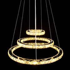 Modern 3 Ring Crystal LED Light Ceiling Pendant Lamp Fixture Chandelier 144 LEDs