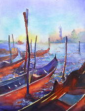 Venice, Italy watercolor painting with church & gondolas at sunset.  Watercolor