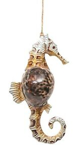 Brown Seahorse With Cowry Shell Christmas Holiday Ornament
