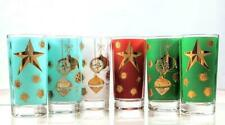 New ListingSet of 5 Vintage Frosted Signed Wm A Meier Christmas Hi Ball Glass Tumblers Gold
