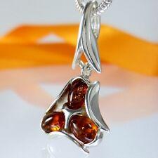 A667 señora colgante 925 Sterling plata joyas Báltico Bernstein Amber