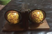Vintage Old/Olde World Spinning Globe Wood Bookends - Mid Century Home Decor