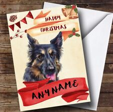 Watercolour Rustic Dog German Shepherd Personalised Christmas Card
