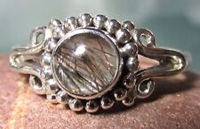 Sterling silver everyday tourmalated/tourmalinated quartz ring UK R½/US 9