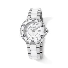 DRONE PRECISION TIMEPIECES WHITE CERAMIC WHITE DIAL STAINLESS STEEL WATCH HSN