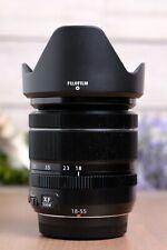 Fujifilm 18-55mm f2.8-4 R LM OIS XF Fujinon Black Lens w/Caps and Hood