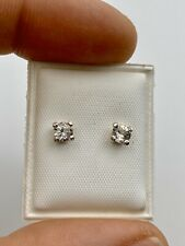 Round Brilliant cut faceted Herkimer Diamonds & Sterling Silver Earrings .41ct