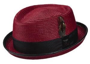 STACY ADAMS * MENS RED WINE PORK PIE HAT * NEW ROCKER SUN SHADY DRESS STRAW PIMP