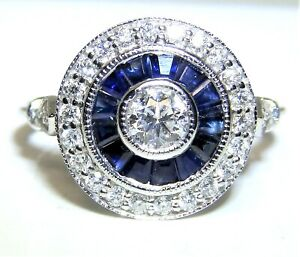 18CT GOLD  SAPPHIRE DIAMOND RING 0.35CT HALO CLUSTER ENGAGEMENT 18CT WHITE GOLD
