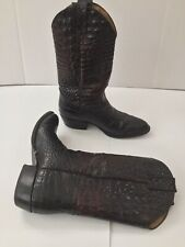Reyme Printed Alligator Leather Cowboy Western Boots Black Size 9 (26.5)