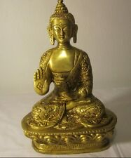 GIFT DECOR BLESSING BUDDHA INTRICATE CARVED BRASS SHAKYAMUNI BUDDHA STATUE