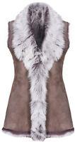 Taupe Ladies Women's Soft Real Toscana Sheepskin Leather Gilet Waistcoat