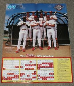 1995 PHILADELPHIA PHILLIES SCHEDULE 17X22-INCH POSTER - EX-MINT - FREE SHIPPING