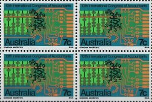 Australian 1972 Hinged Block 4x 7c 10th Int Congress Accountants Stamps Issue