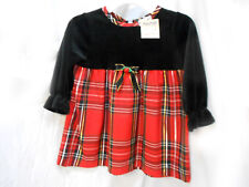 Girl Dress - Black Velvet Top with Red Plain Taffeta Bottom by MINIWAVES Size XS