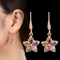 Simulated Trendy Dangle Women Jewelry Drop Earrings Gold Plated Flower Crystal