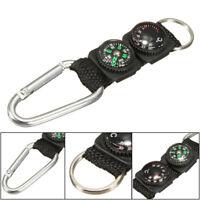 1* Multifunctional Hiking Metal Carabiner Mini Compass Thermometer Keychain PRO