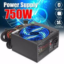 NEW 750W 750 WATT Gaming Quiet Blue LED Fan PSU SATA ATX Power Supply PCIe