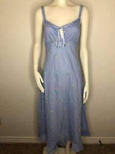Victoria's Secret Long Cotton Nightgown Prairie blue  Floral Size XS