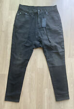 R13 Harem Skinny Leg / Low On Hip Pleated Front Black Jeans W27 L23
