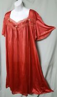 "Comfort Choice ORANGE W/TRIM NYLON CALF LENGTH NIGHTGOWN   Large GIFT 50"" BUST"