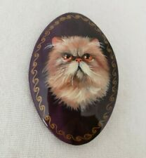 Russian Handpainted Black Lacquer brooch long hair Cat Pin signed 2000 vintage