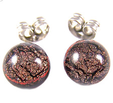 """DICHROIC Post EARRINGS Tiny 1/4"""" 7mm Brown ORANGE Rusty Red Fused GLASS STUDS"""