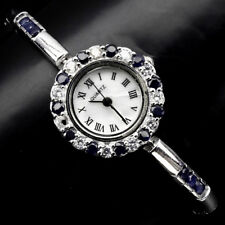 Sterling Silver 925 Stunning Round Faceted Genuine Sapphire Watch 7 Inch