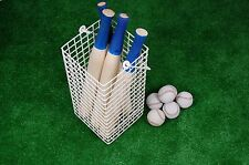 Wooden Rounders Bat - Round or Flat, Metal Storage Basket, Stiched Leather Balls