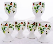 Strawberries & Butterflies Eggcups Set 6 Bone China Egg Cups Decorated in U.K.