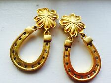 KARL LAGERFELD LUCKY ST PATRICKS Clover Horseshoe Gold Rhinestone Clip Earrings