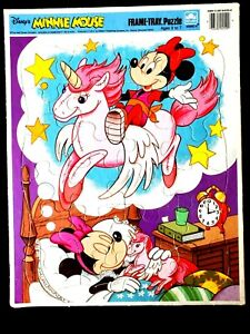 VTG 1985 Disney Minnie Mouse Dreaming Pegasus Wood Large Piece Frame Tray Puzzle