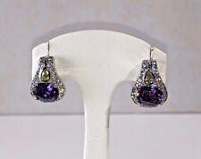 Stunning Silver Huggie Earrings ~ Amethyst and White & Yellow CZ Accents