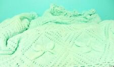 Bedspread Blanket bed couch knitted pale mint green hand knit acrylic washable