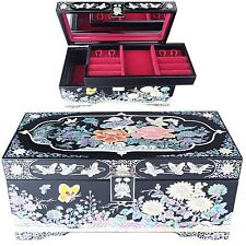 Antique Jewelry Box Mother Of Pearl Women Gift Item 2Drawers Organizer D205