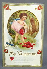 Antique Postcard Valentines Day My Dan Cupid Hunter Heart Overflowing out of Bag