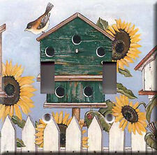 Sunflowers & Birdhouses Double Light Switch Plate Cover