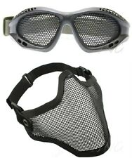[ USA ONLY ] 2 in 1 Protection Face Mask + Metal Mesh Goggles Airsoft Paintball