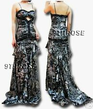 GORGEOUS! FLORAL PRINTS BEADED FORMAL/EVENING/PROM LONG DRESS; CHARCOAL 12 14