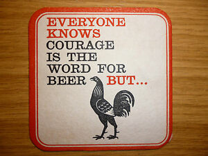 """Courage Everyone Knows """"Hops"""" - 1960's / 1970's beer mat"""