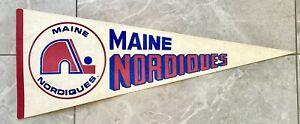 1973-77 Maine Nordiques Vintage NAHL Hockey Pennant - No Holes / Sharp Tip Rare