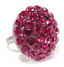 SoHo® großer Strassring geschliffene Kristalle fuchsia pink altsilber Halbkugel