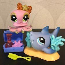 Authentic Littlest Pet Shop #2139 Blue shark #2140 Glitter sparkle pink octopus
